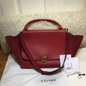 CELINE TRAPEZE HANDBAG MEDIUM RED